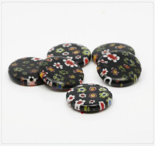 4x Millefiori Perles Perles De Verre Lentilles Bijoux À faire soi-même Bricolage Noir 20 mm ss165