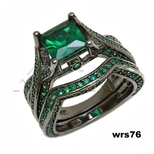 Princess Cut Green Sapphire Black 925 Silver Bridal Engagement Wedding Ring Set