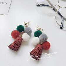 Pom Poms Gold Tassel Fringe Drop Dangle Fashion Red Earrings 037