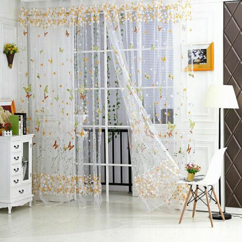 Schmetterling Blumenmuster Tüll Voile Fenster Vorhang Stoffbahn Sheer Schal #R