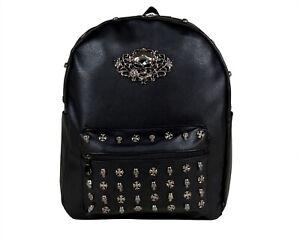 LARGE-SKULL-HEAD-GOTHIC-GOTHX-Cross-Black-Backpack-Rucksack-School-Rock-Goth-Bag