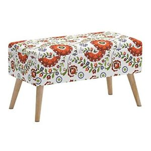Details about Storage Ottoman Bench Upholstered Shoe Ottoman Entryway  Bedroom Retro Floral