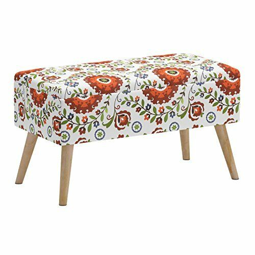 Admirable Storage Ottoman Bench Upholstered Shoe Ottoman Entryway Bedroom Retro Floral Gmtry Best Dining Table And Chair Ideas Images Gmtryco
