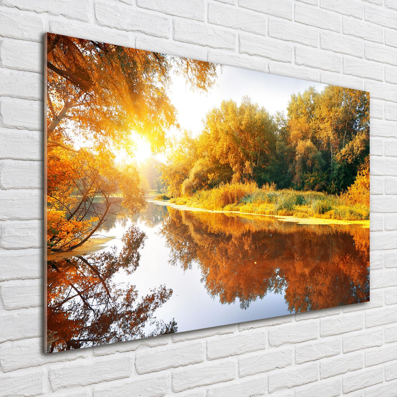 Acrylglas-Bild Wandbilder Druck 100x70 Deko Landschaften Fluss im Herbst