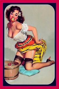Pin-Up-Girl-Pomme-dans-Bouche-Panneau-Metallique-Plaque-Voute-Etain-Signer