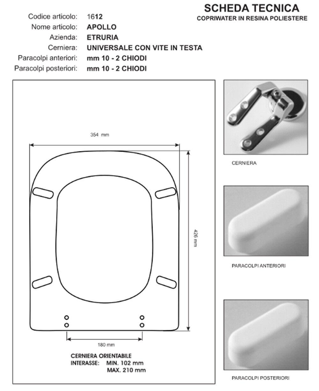 Abattant compatible Wc Siège compatible Abattant avec Wc Apollo - céramique Etruria cdf53e