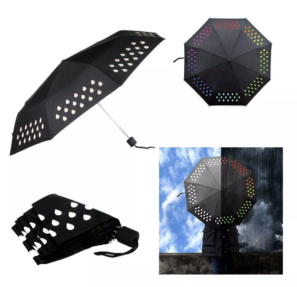 Multi Colour Changing Waterproof Droplets Pattern Triple Folding Black Umbrella