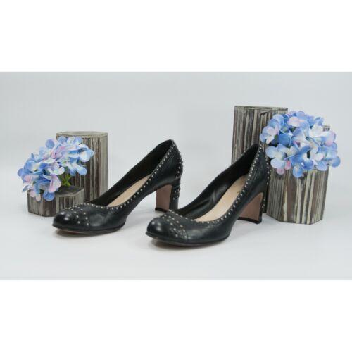 Prada Studded Black Leather Block Heels Shoes Sz 3