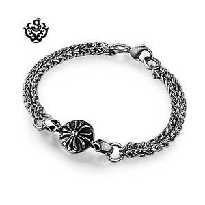 Silver-bracelet-double-chain-fleur-de-lis-cross-soft-gothic
