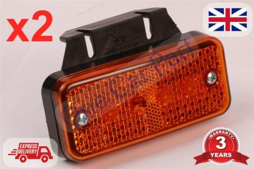 2x 24v LED Amber Orange Side Marker Light Indicator Trailer Truck with Bracket