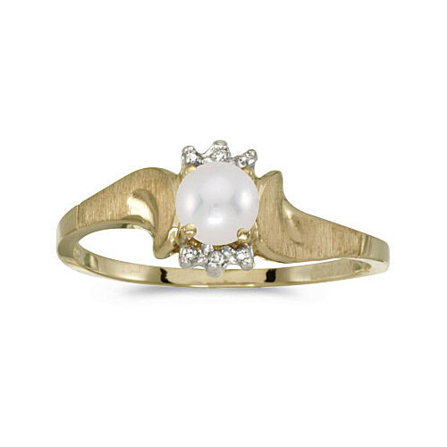 14k Yellow gold Cultured Freshwater Pearl & Diamond Satin Finish Ring