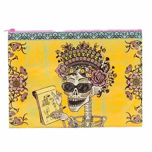 Blue-Q-Day-Of-The-Dead-Sugar-Skull-Yellow-Zipped-Jumbo-Storage-Pouch-24cm
