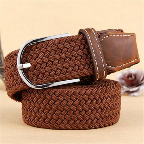 Men Leather Elastic Braided Stretch Pin Buckle Waist Low Profit Belt Nickel-Free