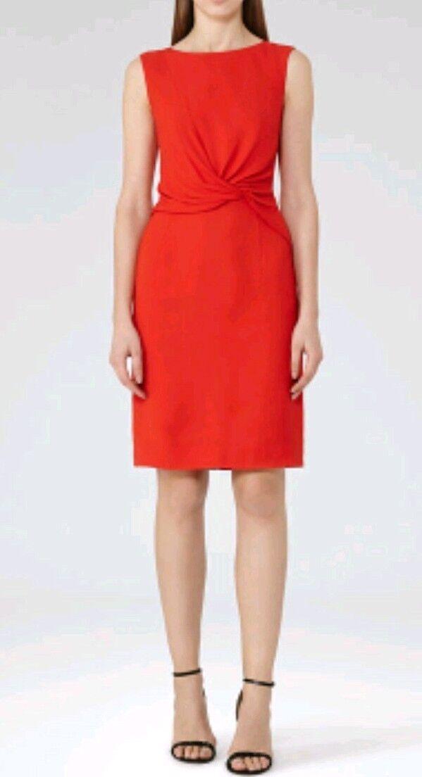 Designer REISS Erica twist dress Größe 4 --BRAND NEW-- rot knee length Seen On Tv