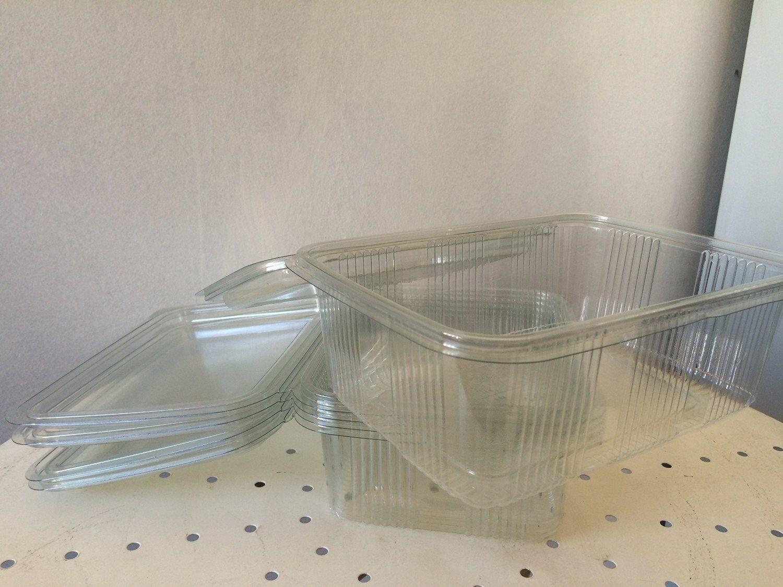 LOT DE 400 BARQUETTES FROIDES (cristal) AVEC COUVERCLE à CHARNIèRE contenance  3