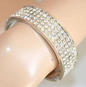 c04a1bf9928f42 Caricamento dell'immagine in corso BRACCIALE-donna-argento-RIGIDO-strass -brillantini-elegante-bracelet-