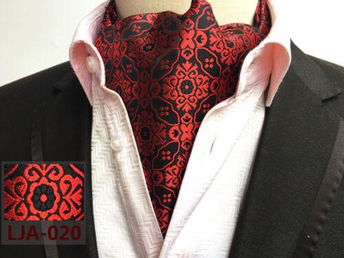 Cravat Red Black Purple Gold Blue Orange Brown Silver Silk Blend Mens Ascot Tie