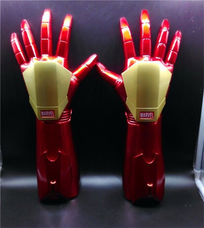 The Avengers Iron Man Tony Stark Gloves 1:1 LED Light Hand Laser Cosplay Toys