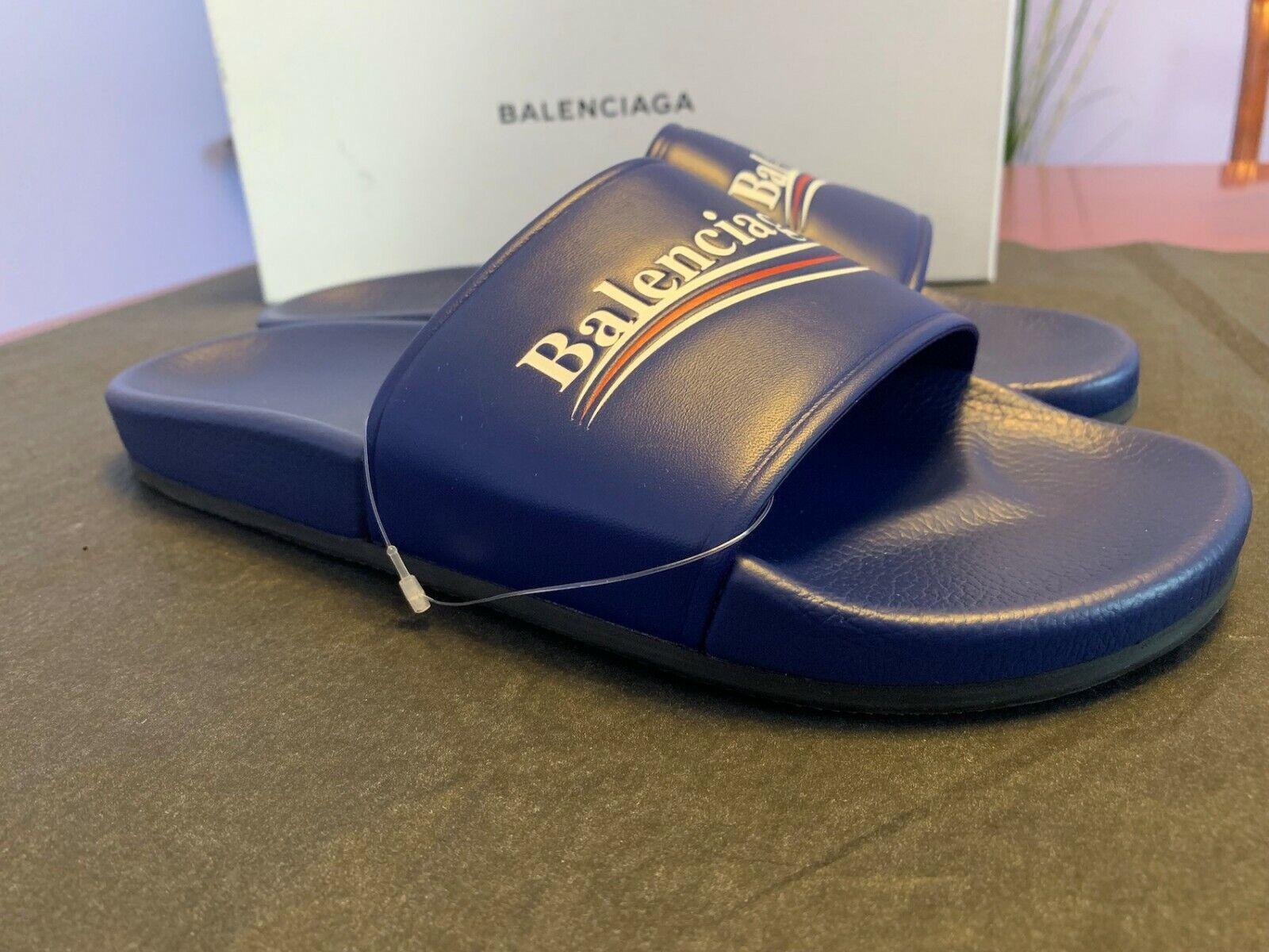 NIB Balenciaga Logo Campaign Flat Pool Slide Sandal, US9