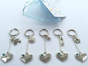 Baby Shower Keyrings ~ Baby shower keyring boy charms mum to be pregnancy organza