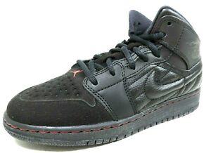 Nike-Air-Jordan-1-Retro-039-99-BG-654962-001-Basketball-Boys-Shoes-Black-Leather