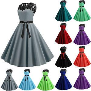 77bdd8b6e72f78 Das Bild wird geladen Damen-Spitze-Abendkleid-Party-Hochzeit-Ballkleid- Rockabilly-Petticoat-