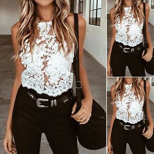 Fashion-Women-Lace-Summer-Vest-Sleeveless-Shirt-Blouse-Casual-Tank-Top-T-Shirt-W