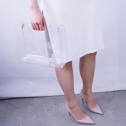 Clear vinyle en Plastique Sac fourre-tout Bandoulière Cabas Square Poignées clous sangle PVC