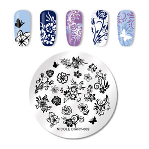 NICOLE-DIARY-Nail-Art-Briefmarke-Image-Template-Stainless-Steel-Butterfly-069