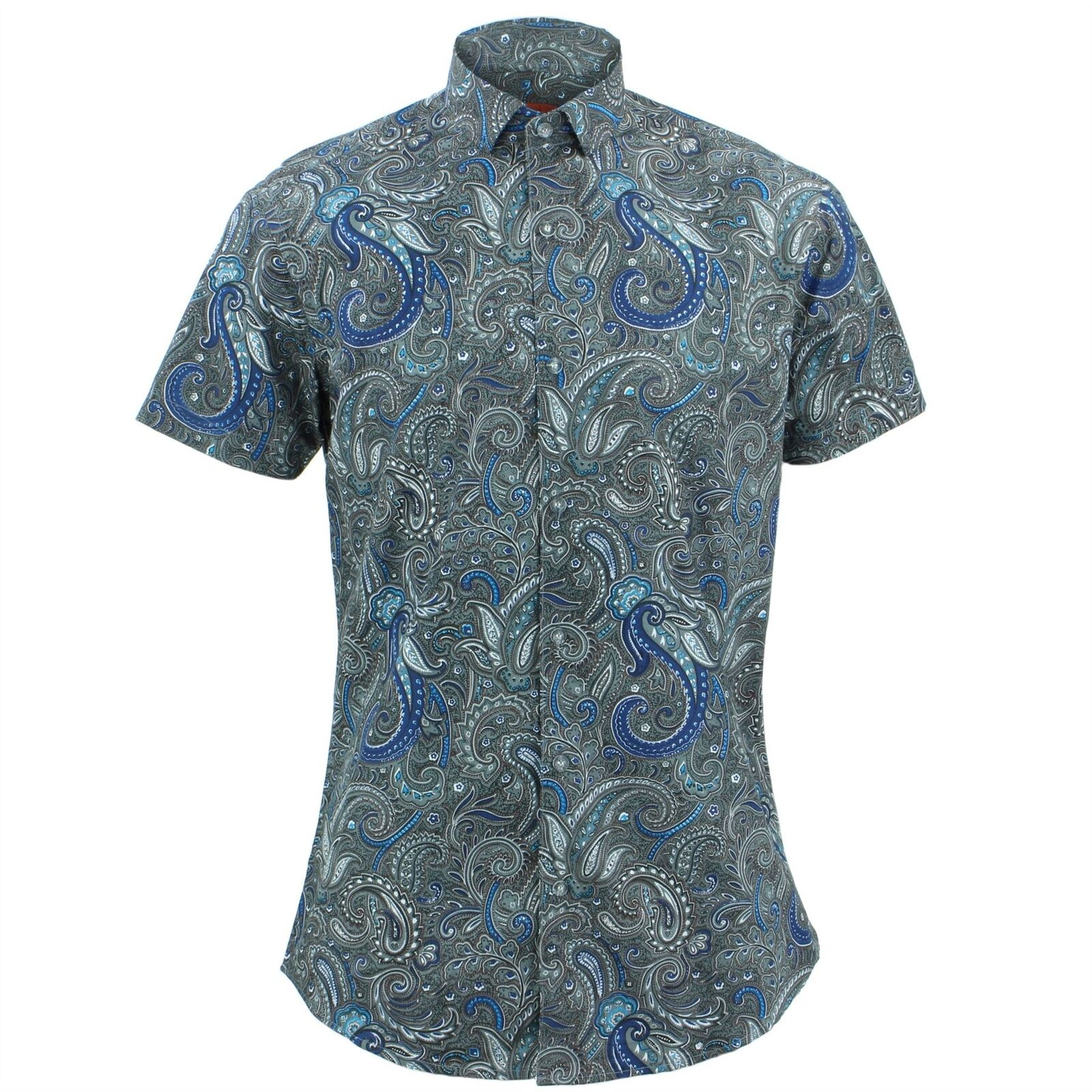 Camicia da Uomo Loud Originals Slim Fit Paisley Grigio Retro Fancy