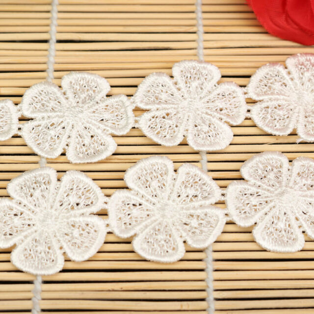 1 Yd Embroidered Delicate White Flower Applique Venise Lace Craft Sewing Trims