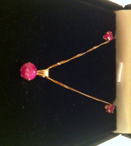 9ct yellow gold, pink ruby pendant and earring set Hallmarked