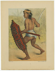 Antique Print-TRING DAYAK-WARRIOR-CANNIBALS-BORNEO-INDONESIA-Bock-Kell-1881