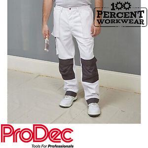 Grosses Soldes Commerce Professionnel Peintres Décorateurs Blanc Pantalons De Travail Pantalons Pantalon Genou Poches-afficher Le Titre D'origine