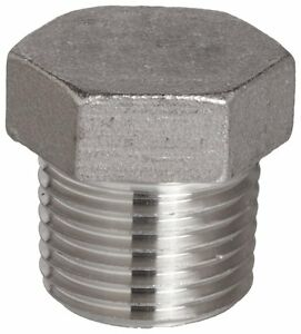 "Stainless Steel 316 Cast Pipe Fitting, Hex Head Plug, Class 150, 2"" NPT Male"