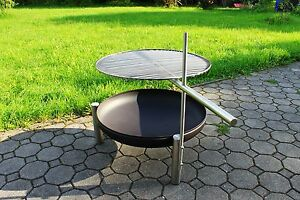 feuerschale mit grill 50 cm feuerstelle profi feuerschale holzkohlegrill ebay. Black Bedroom Furniture Sets. Home Design Ideas
