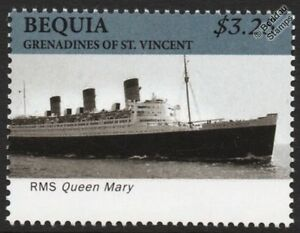 Rms Queen Mary Cunard Line Ocean Liner/passagers De Paquebots De Croisière Stamp (bequia)-afficher Le Titre D'origine Parfait Dans L'ExéCution