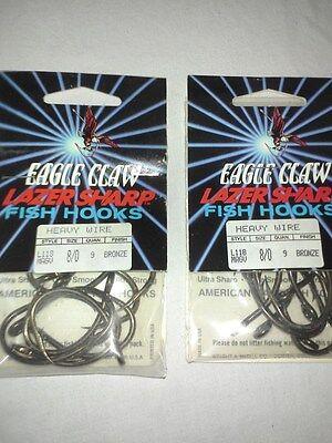 2 Packs Eagle Claw HEAVY WIRE Lazer Sharp Live Bait Fish Hooks 8//0 #L118MAGV