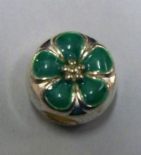 European Bead DARK GREEN FLOWER 5 PETAL  DAISY Charm Bead AUS Seller