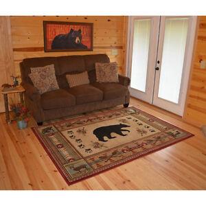 Lodge Cabin Southwestern Bear Paw Pinecone Fish Area Rug