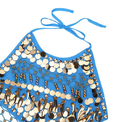 Girl Kid Belly Dance Dress Sequins Coins Tops Pants Veil Dancewear Set 4 Colors