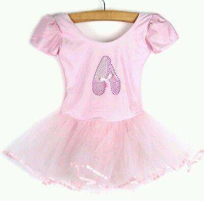 Rosa De Ballet Tutu leotardo Dance Falda Diseño De Zapatos Traje Traje Bailarina Niñas