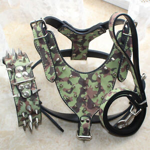 Leather Spiked Studded Dog Collar + Dog Harness + Dog Leash Set Pitbull Terrier