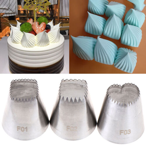 3pcs Square Heart Icing Piping Nozzles Russian DIY Cream Cake Pastry Tips ToolUR