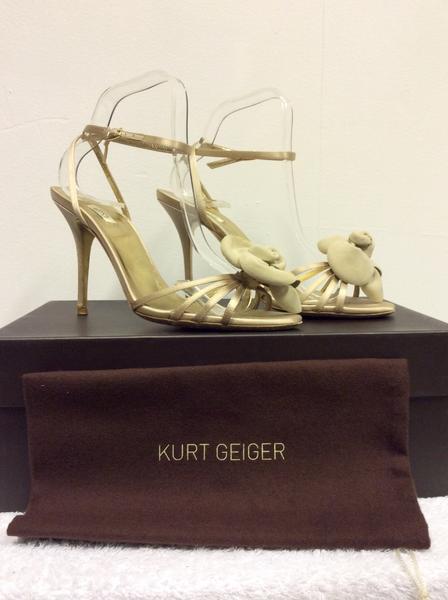 Kurt Geiger Luxe Champagne Fiore Anteriore Con Con Con Cinturini Tacco Sandali Taglia 6 39 4ad569