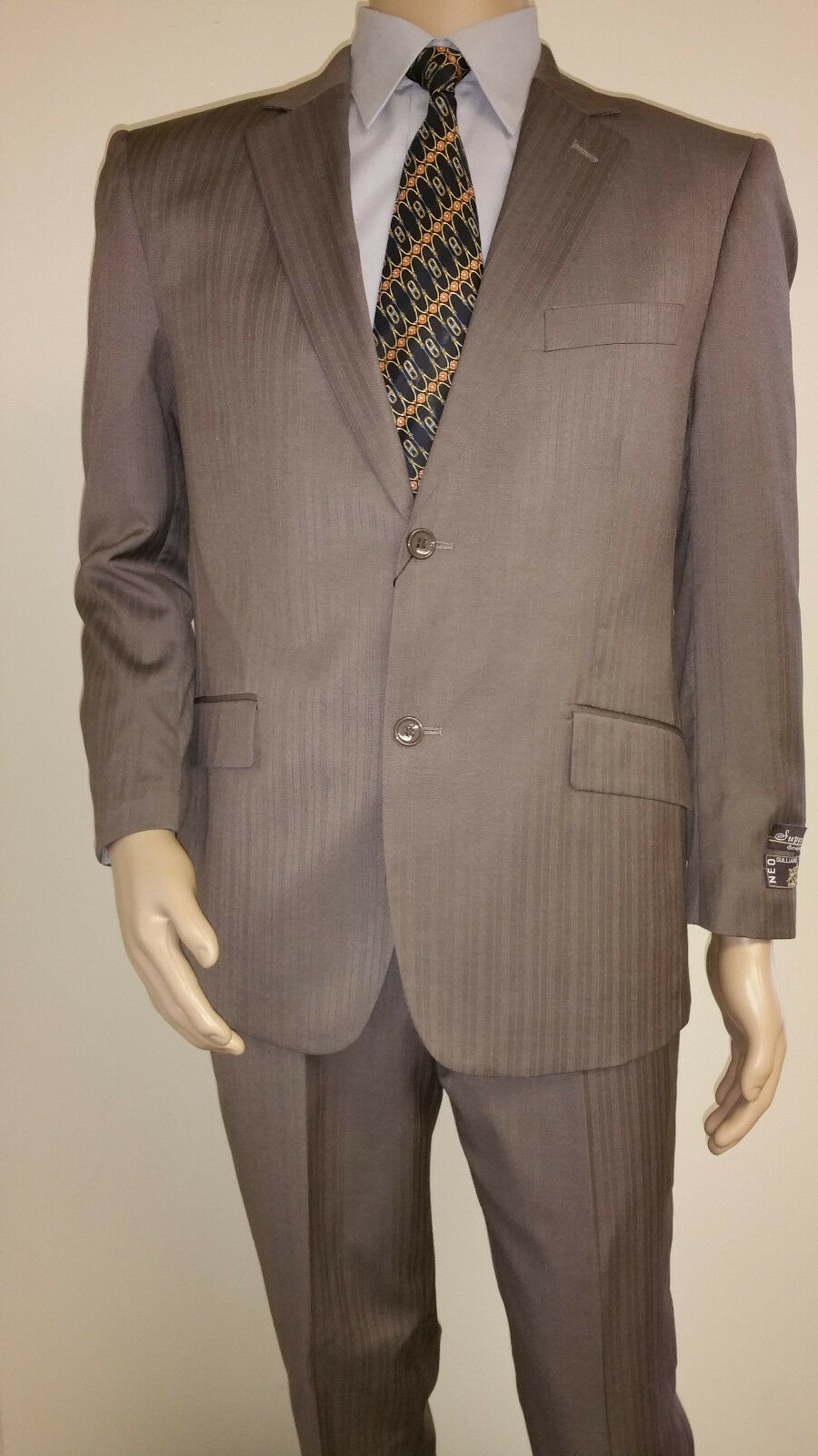 Men's Premium Quality Fancy Stripe Modern Fit Dress Suits Taupe Brand New 38S