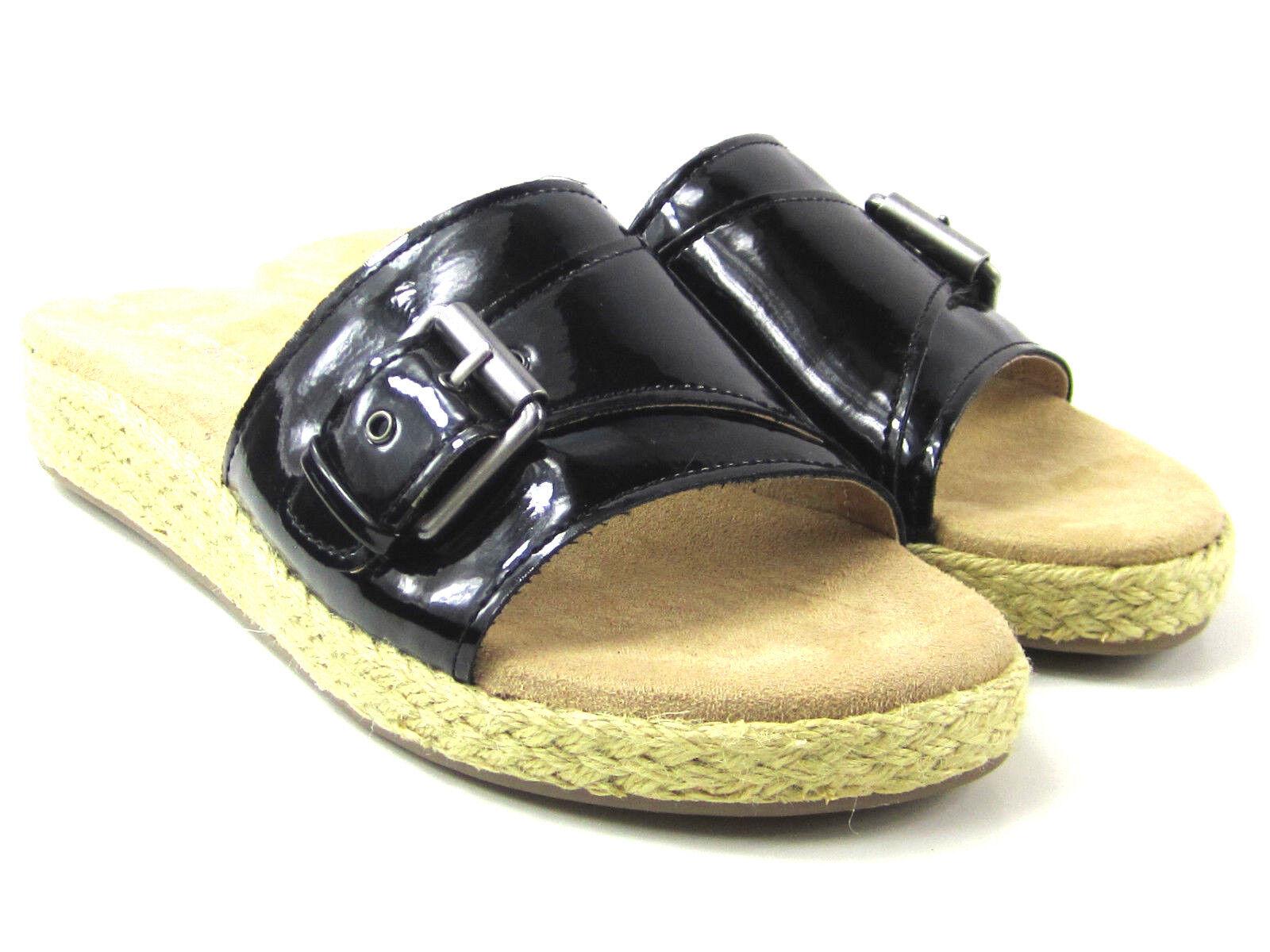 Aerosoles Glorify Espadrille Platform Sandal Black Faux Patent Women's Size 9m