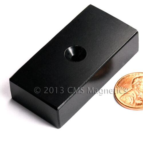"Neodymium Magnets EPOXY N42 2x1x1//2/"" coated w 1//8/"" Counter Sunk Hole 2 PC North"