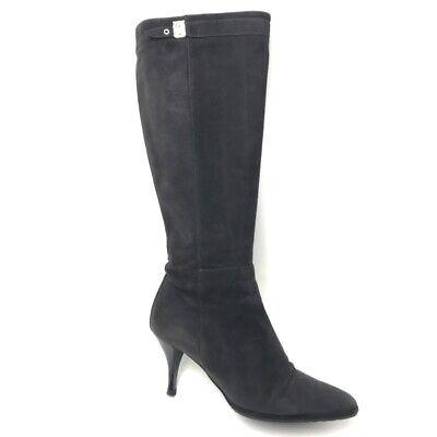 hermes heel kneehigh boots black suede  ebay