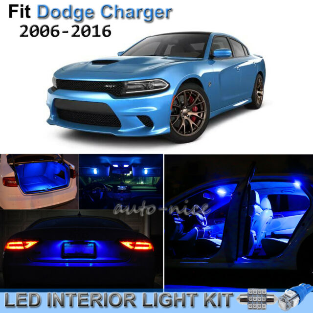8pcs Pure Blue Interior LED Lights Package Kit For 2006